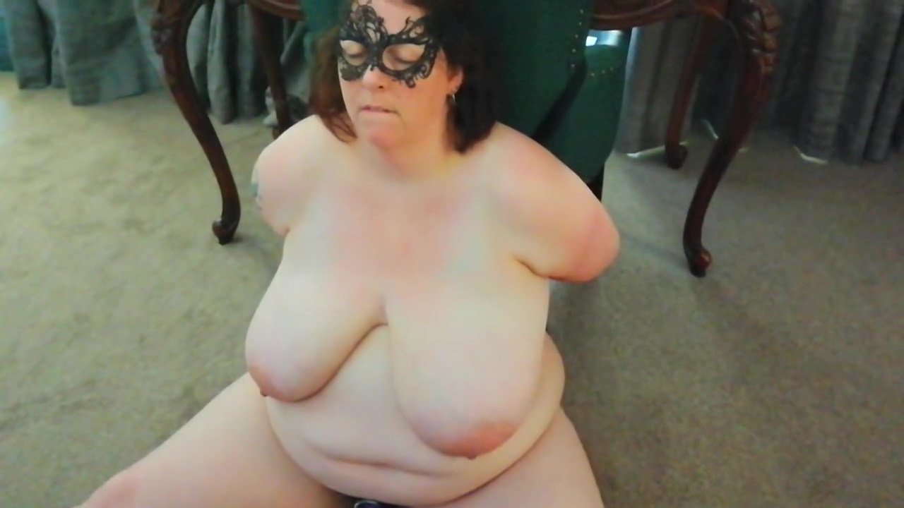 Bbw tied to a hotel chair and made to cum with wand