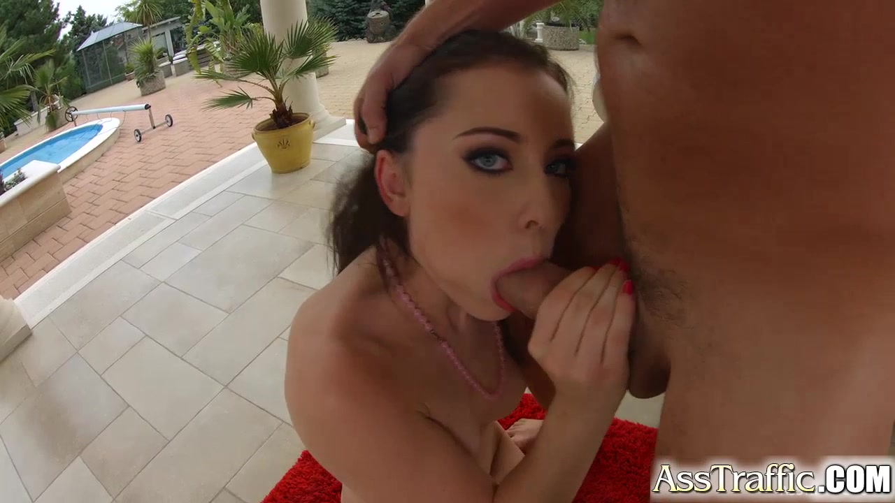 Asstraffic brunette is bent over and fucked outside