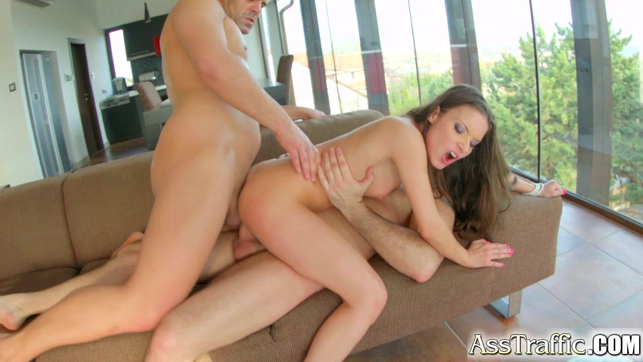Asstraffic hot brunette anal threesome and cumshots