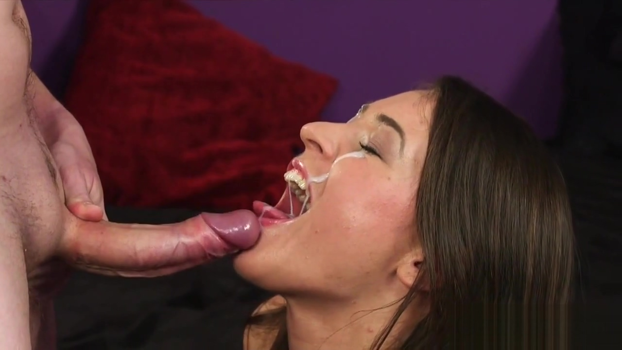 Flirty honey gets jizz shot on her face eating all the juice