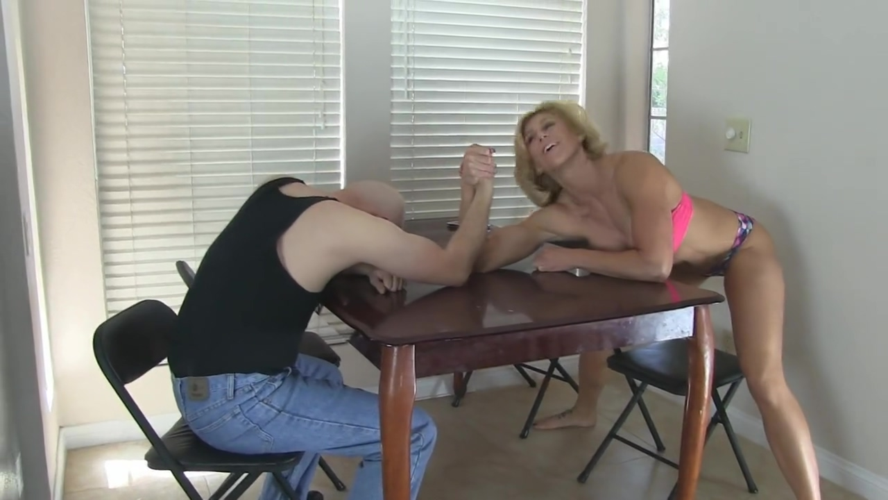 Arm Wrestling & Ballbusting vaculock strap on dildo