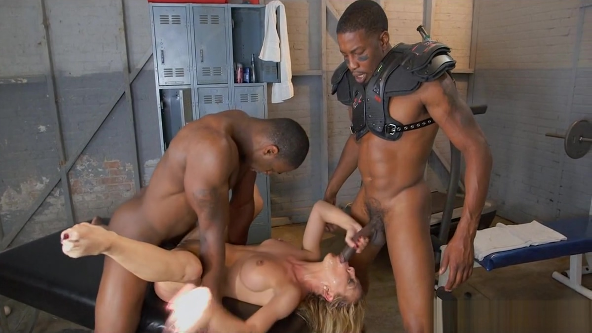 2 Big Black Hogs for Blonde MILF Wife posing and sex