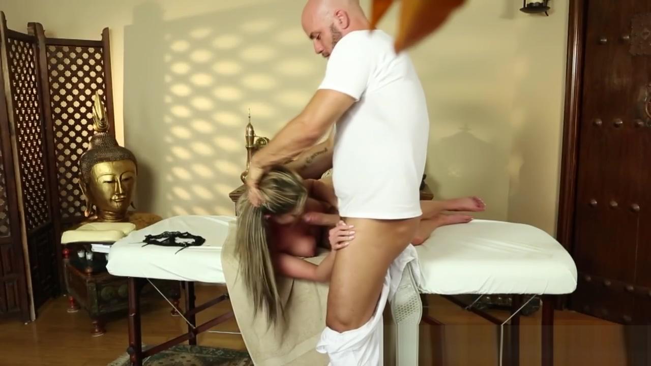 Throatfucked beauty gags on masseurs cock