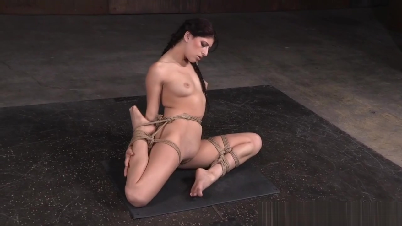 Flexible sub babe toyed and suspended by dom Girls peeing taking a leak