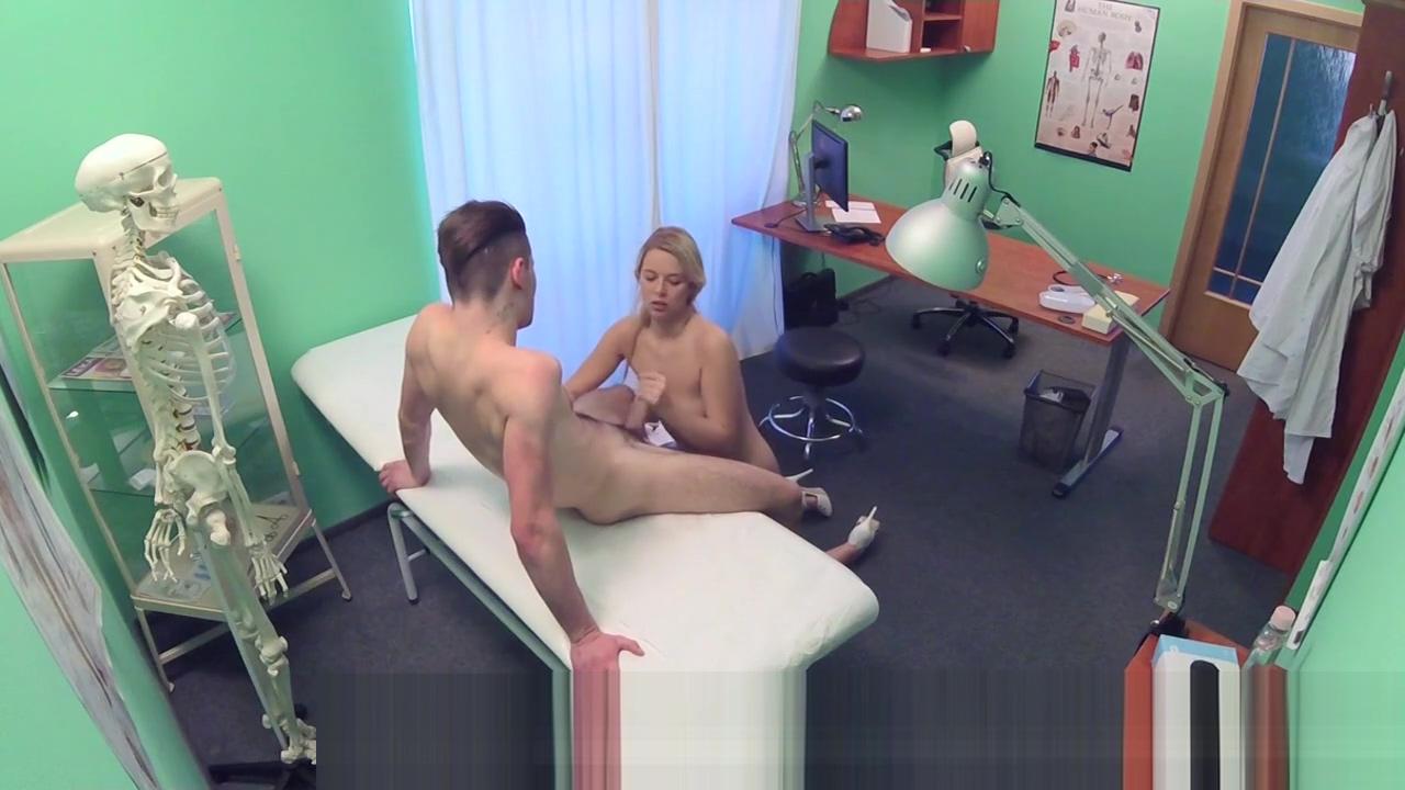 Blonde nurse fucks bent over in office