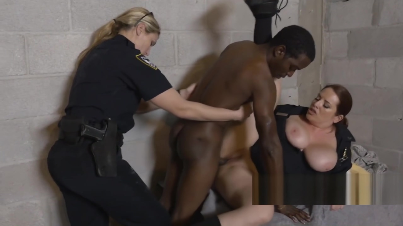 Shady pimp gets caught mistreating his chick by horny milf cops