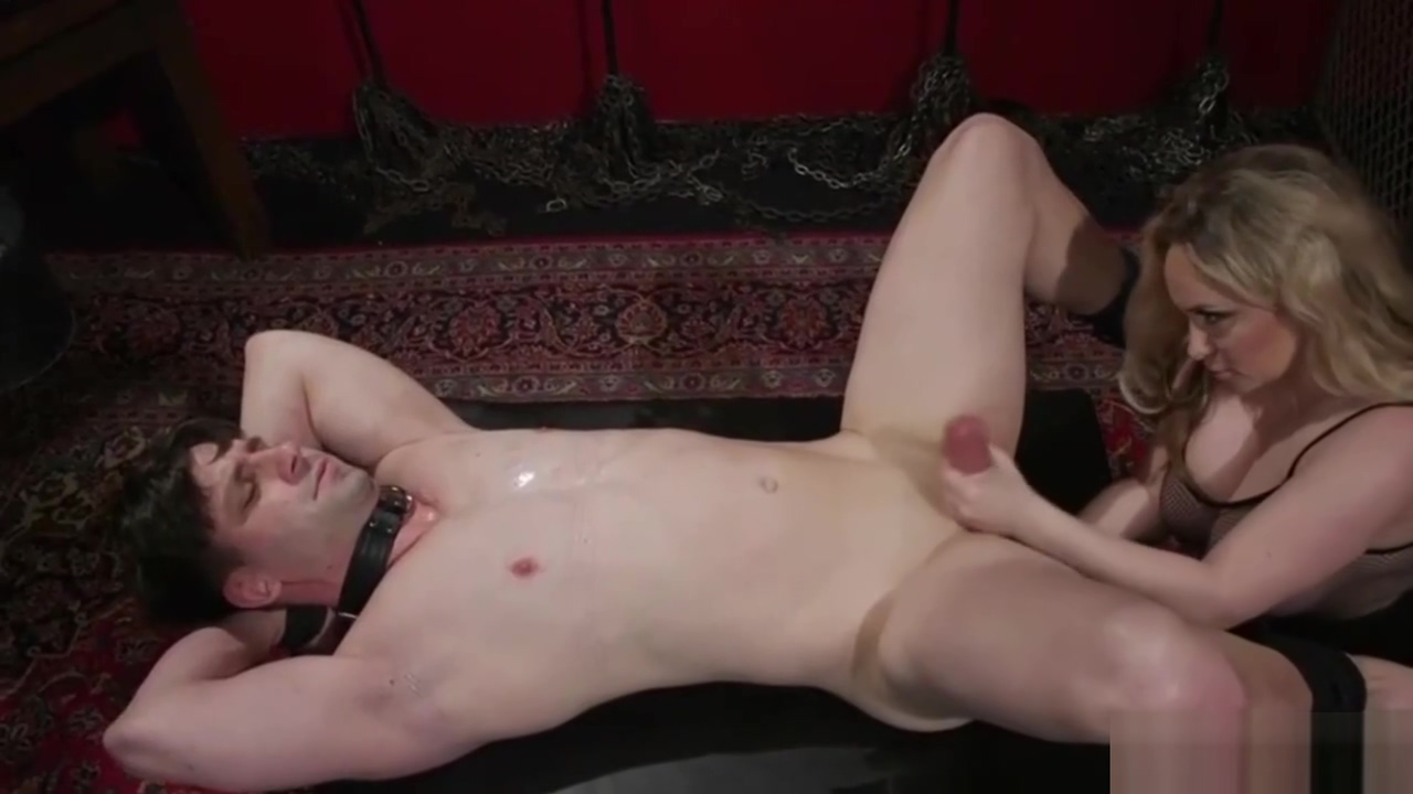 Busty Blonde Domina Gives Her Slave a Wank Being girl shaved