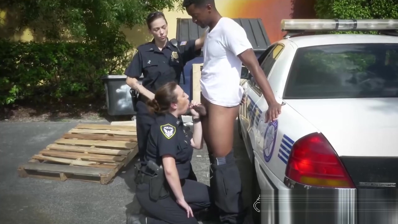 Two horny cops banging a criminal scotish babes with hairy pussy fucks