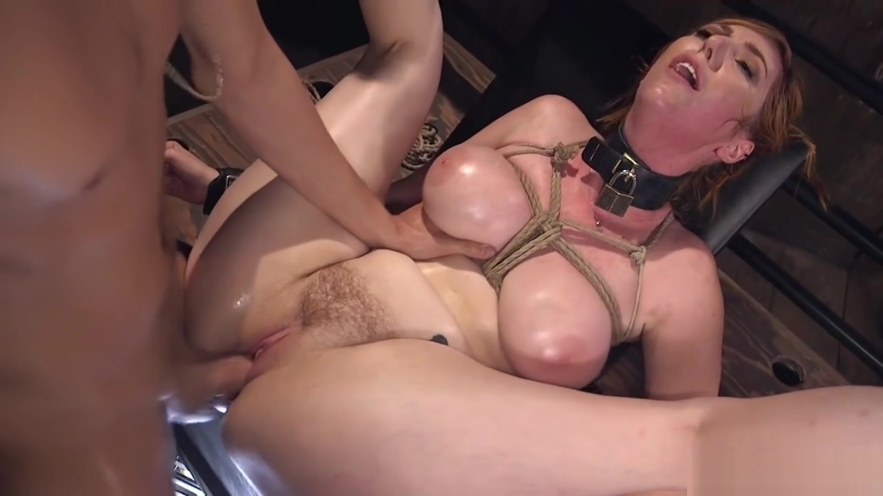 Busty sub takes huge dick up her ass bdsm