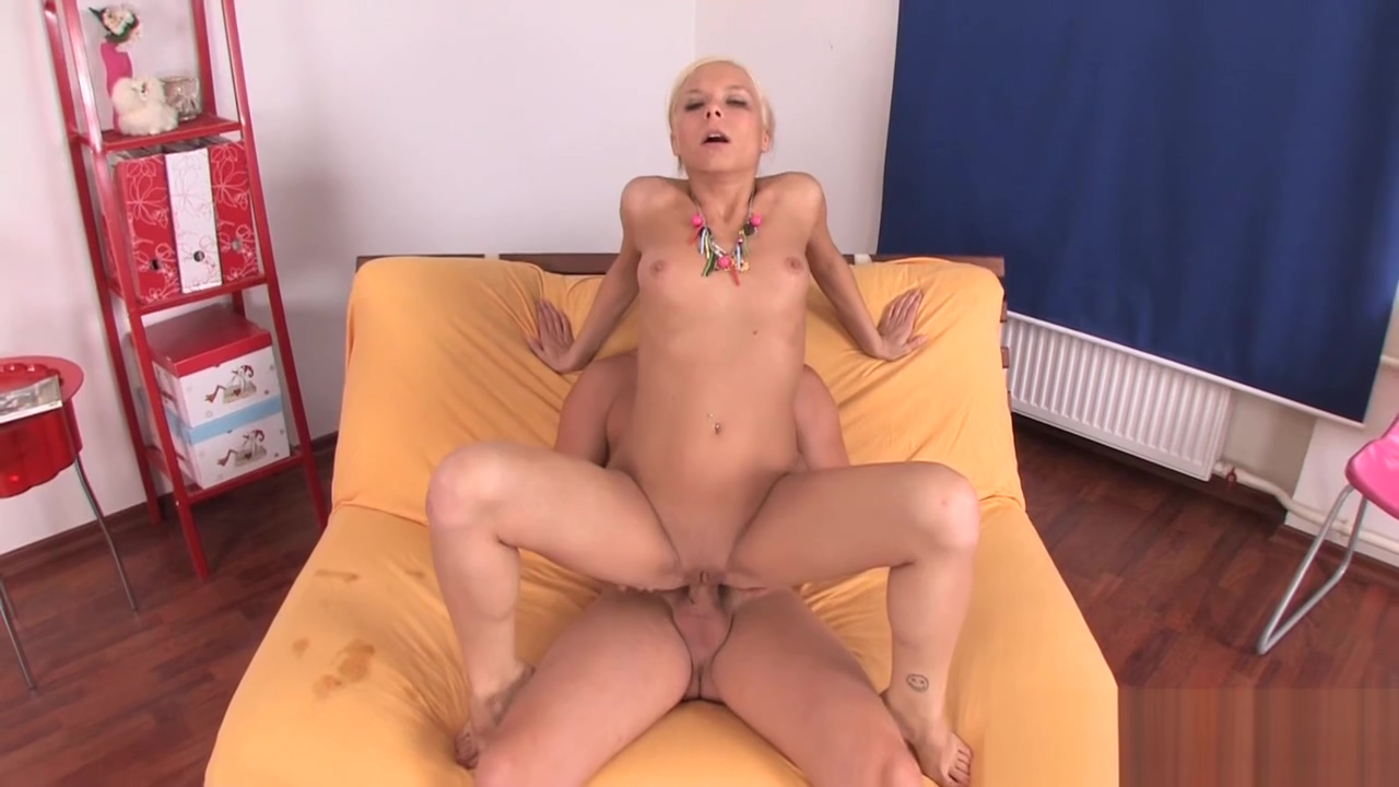 Naughty blonde babe bends down for sex