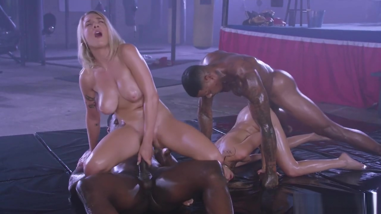 Riley and Gabbie fucked hard by 2 black guys Pantyhose twerking suck cock and interracial