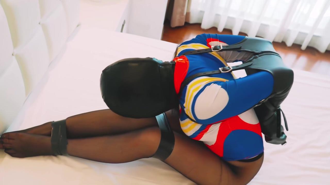 Hooded in armbinder Brunette slut takes huge dick