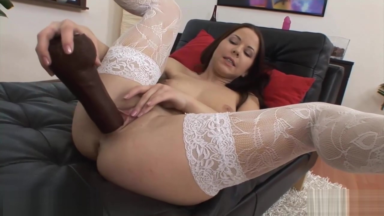 Sexy honey in stockings uses a dildo tag cum shot club abbey brooks