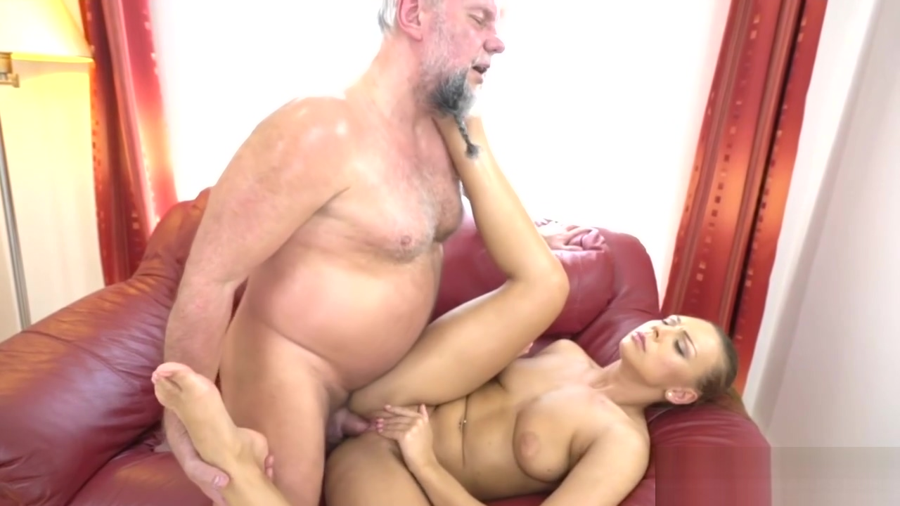 Curvy blonde getting screwed by a hairy old man
