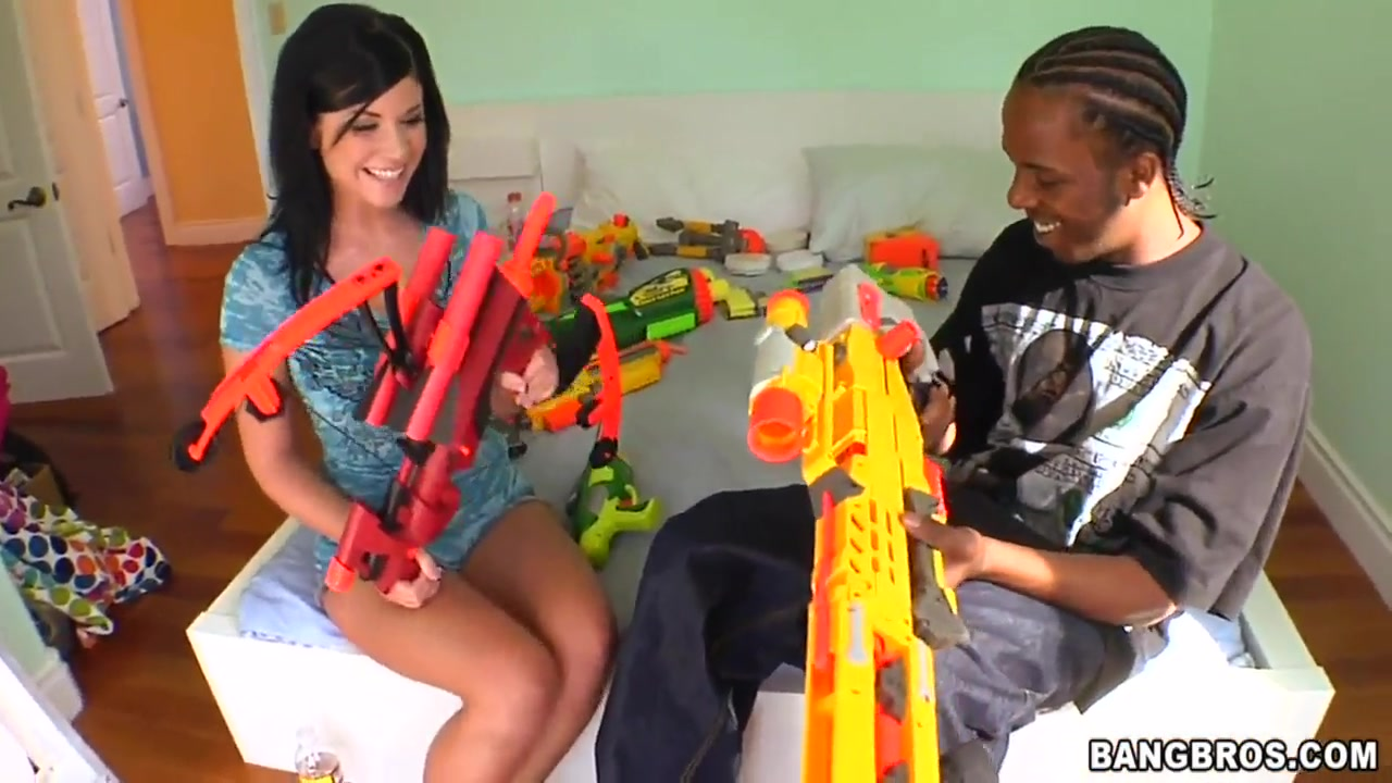 Playing with his gun is a seduction Old guy fucking pretty blonde on the couch