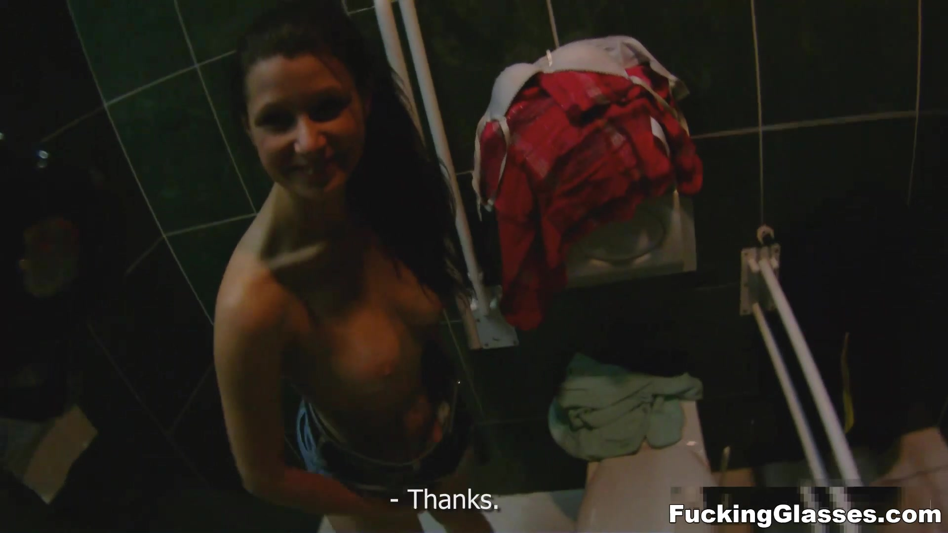 Fucking Glasses - Mazy Teen - Public restroom orgasm