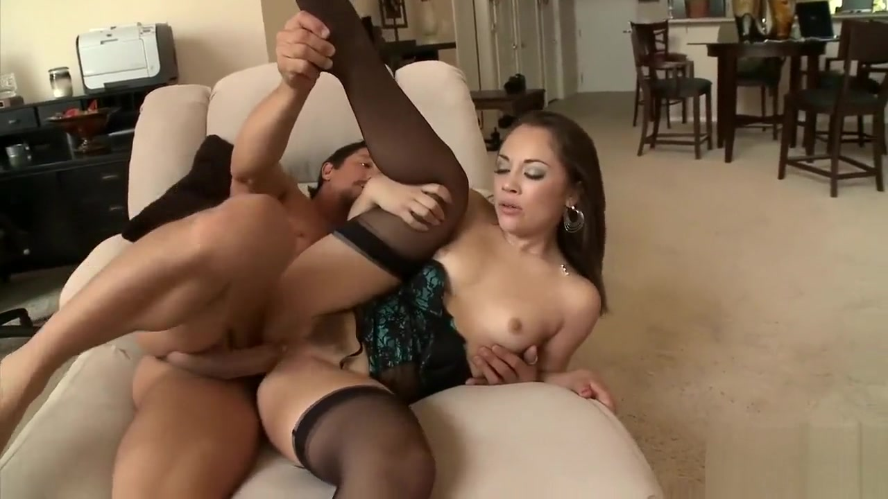 Hottie in stockings enjoys some anal Sexy blonde booty