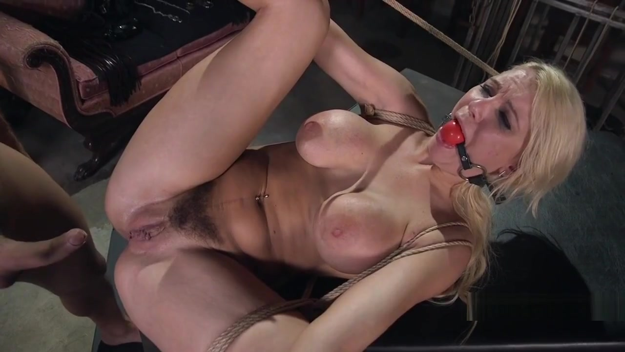 Huge Boobs Blonde Got Anal Bondage Sex Blonde oiled and tied up nude