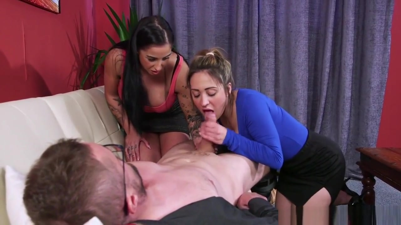 Busty Cfnm Femdoms Jerking In Cfnm Threesome Horny bbw babes lez out