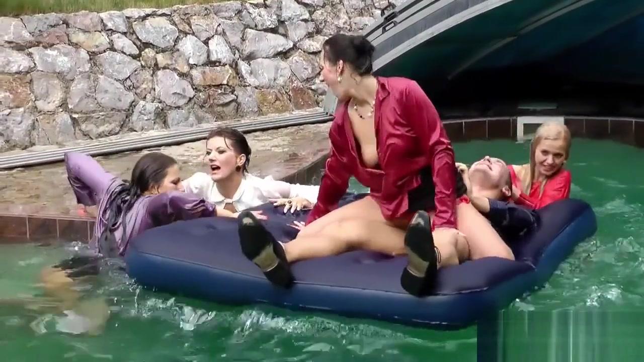 Intense Reverse Gangbang In The Pool