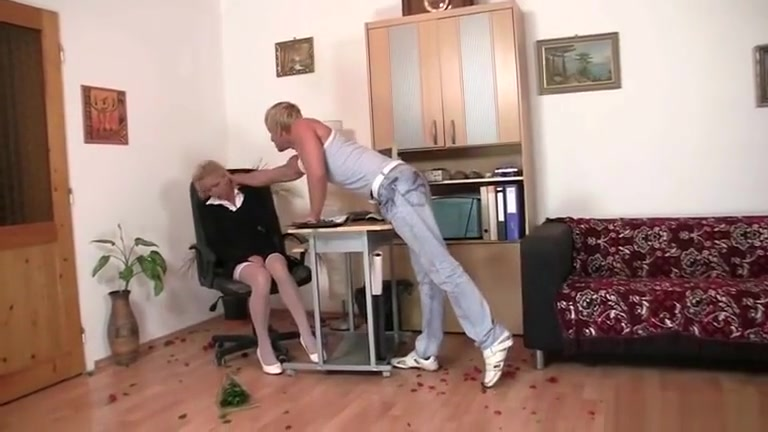 Porn Pics & Movies Blonde anal dildo on stage