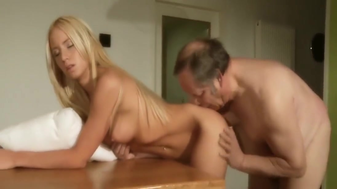 Old cooker fucked by hot, young blonde in the kitchen Girls double ended dildo gif