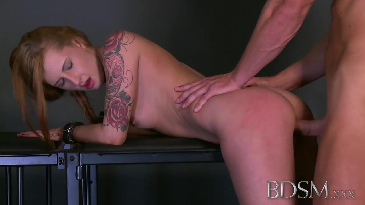 BDSM XXX Master gives tattooed sub her first domination Xxx Sex Video Clip Free