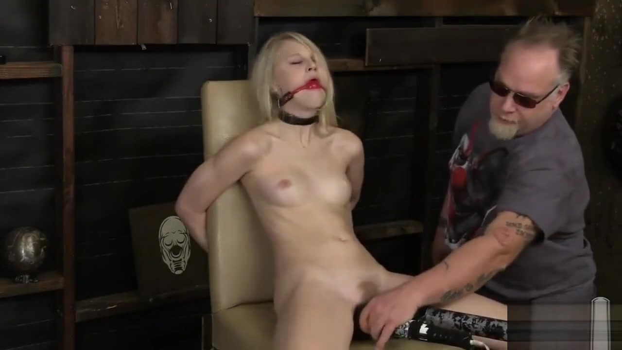 blond girl bound and vibed Spanish old man