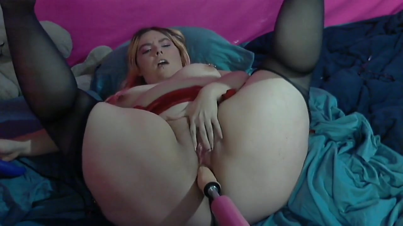 Pink Haired BBW in lingerie with fuck machine Nylon tied porn movies domination lingerie sex videos