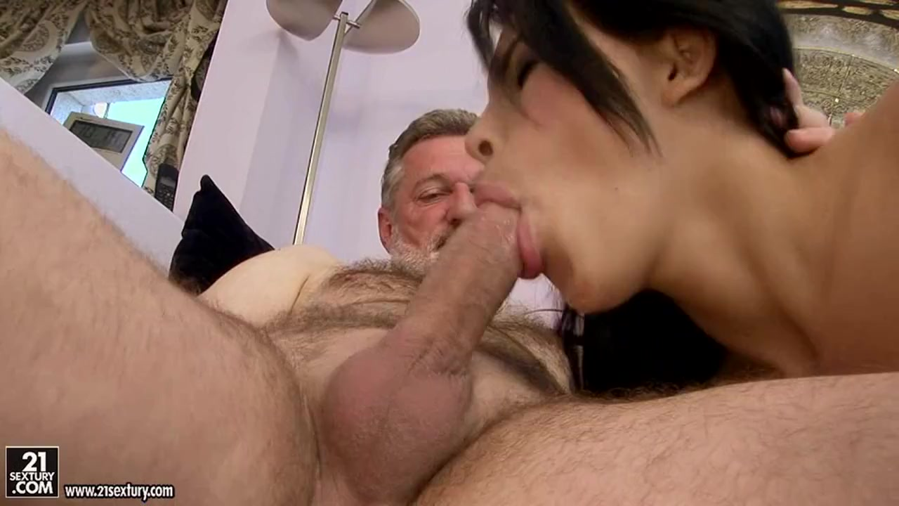 Amabella wraps her tiny mouth around a much older mans hard cock Pussy loving amateurs enjoy sapphic threeway