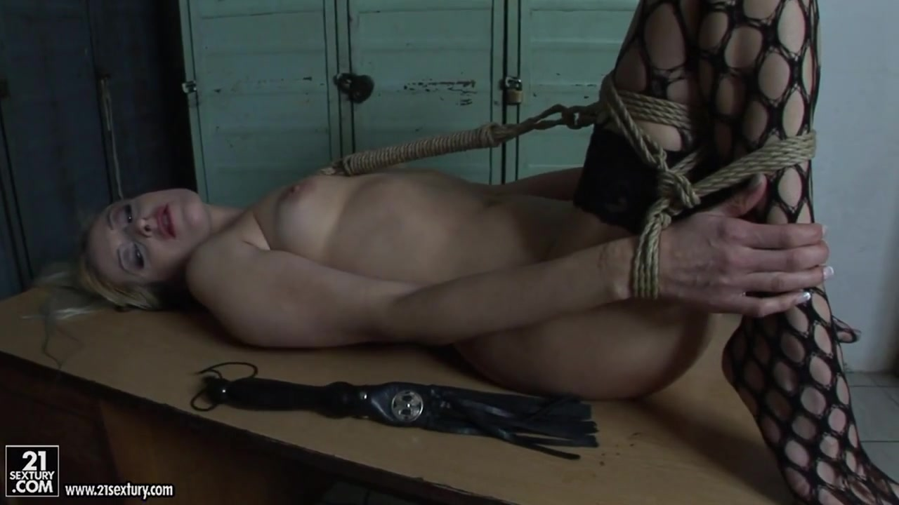 Mandy Bright tied a hot chick in net stockings Big dick hand job cumshots