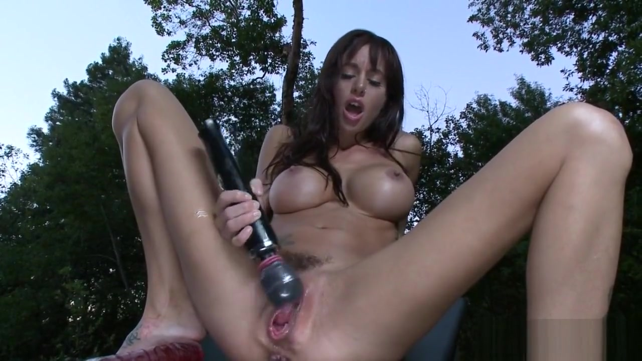 Busty Machine Babe Drilled In Gaping Pussy Fucking her toy gif