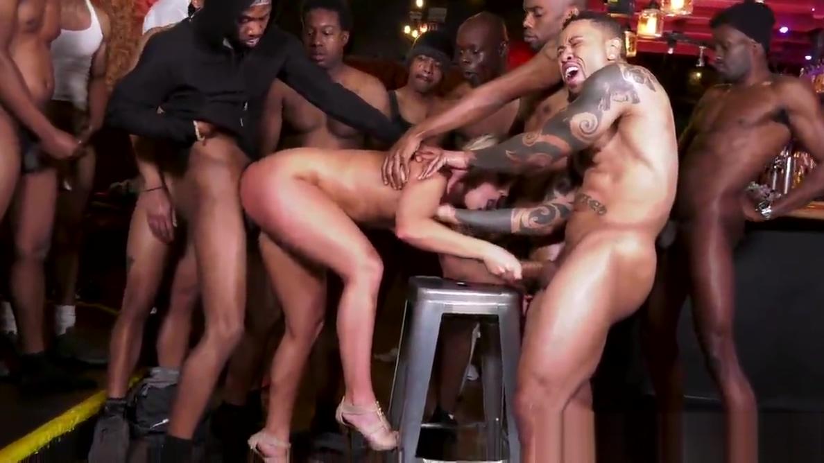 BBC Slut Candice Dare Survives Interracial Gangbang In A Bar Hot redhead big boobs