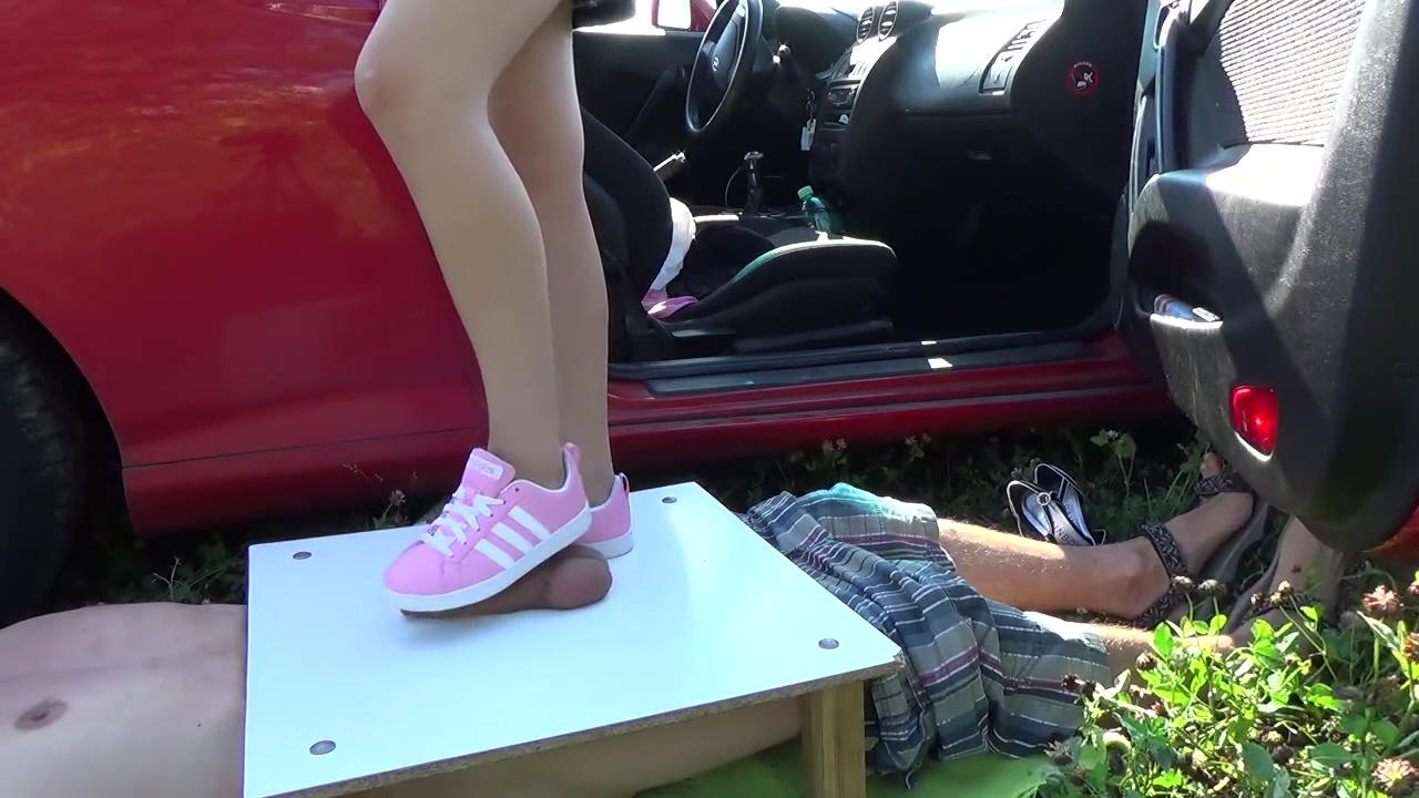 Pink sneakers trampling upon manhood Latin milf cocks
