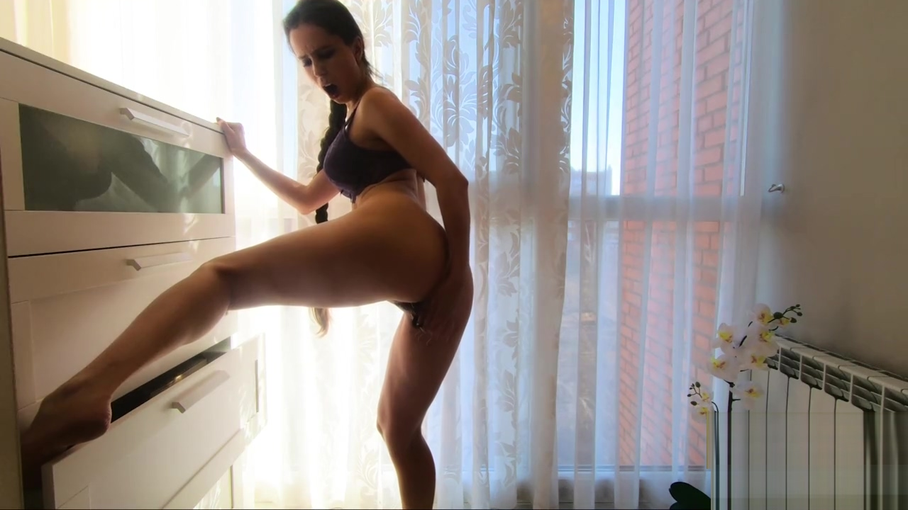 Masturbation with toy and striptease in lingerie - CatherineRain Masturbating in the airplane bathroom