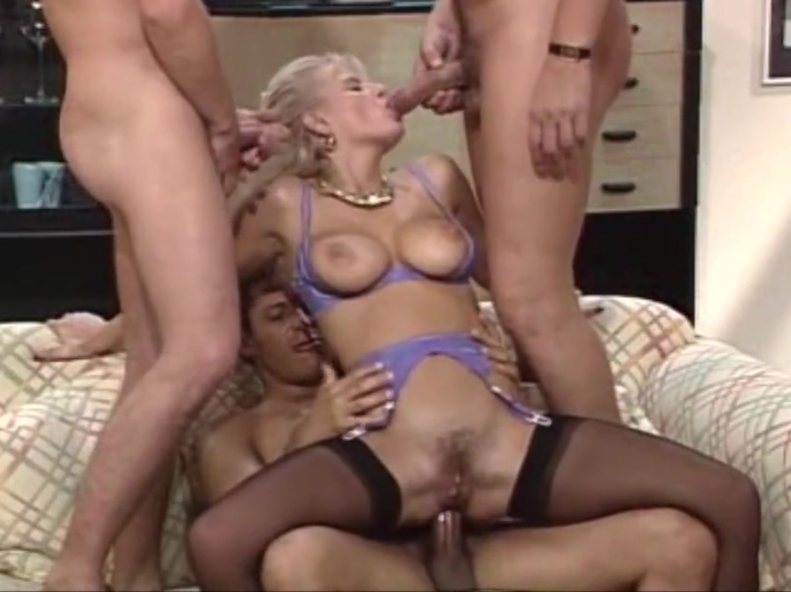 Blonde in stockings and high heels seduced to have group sex granny fucked by bbc