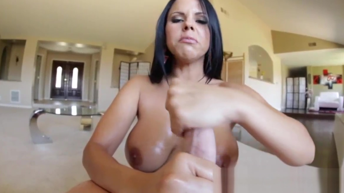 Busty latina jerks off mature ass by huge wife