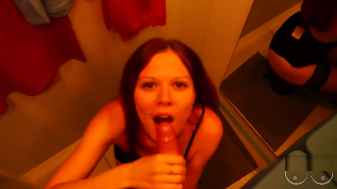 Blowjob and sex with redhair beauty in the shopping centres dressing room Sexy work skirts
