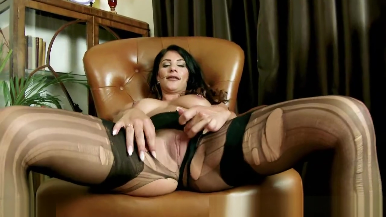 Brunette Roxy Mendez rips open nylon pantyhose in panties plays toys pussy sex hotel san diego