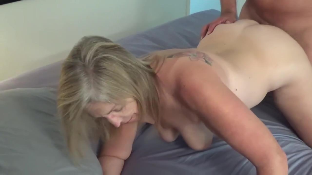 I cum on her tit, hot blonde MILF