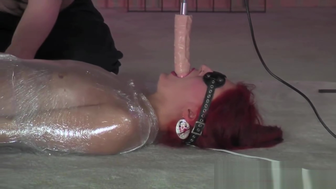 BDSM XXX Horny red head is bound and fucked by fucking machine before big cock