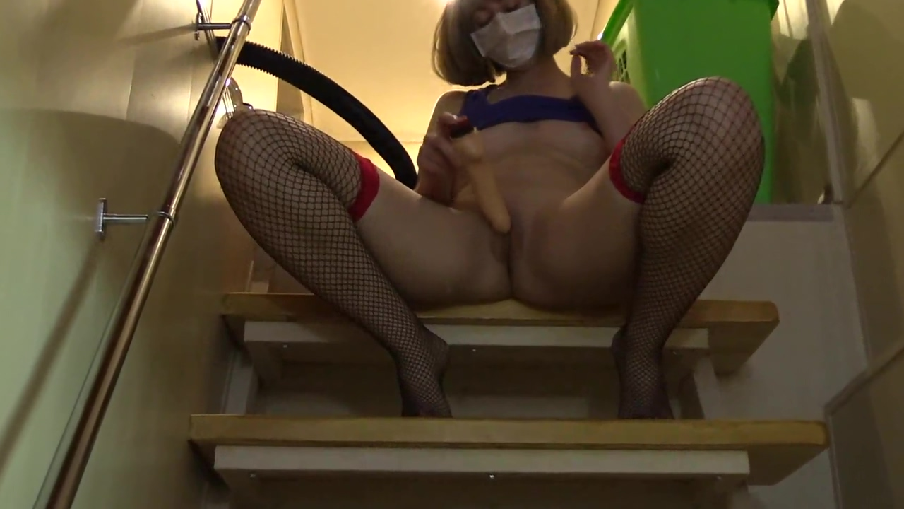 Sexy girl undresses on the stairs and masturbates hairy pussy with a dildo to orgasm. free nepali nude pics