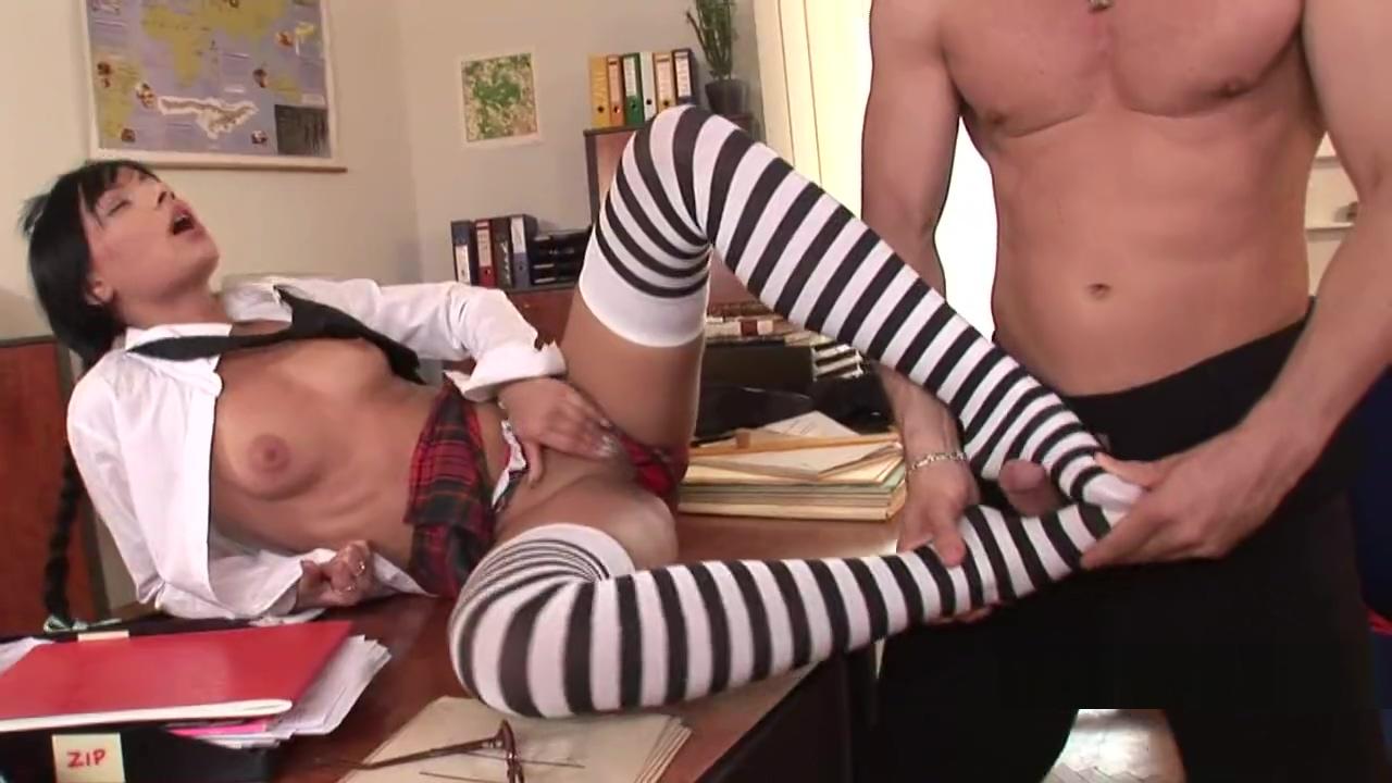 Schoolgirl Striped Stockings Footjob Fringe Bikini Top